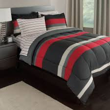 image of picture red and grey bedding