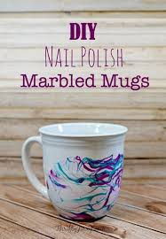 this diy nail polish marbled mugs craft is fun and easy to make to decorate your