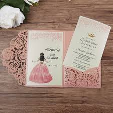 Invitation Quincenera Pink Laser Cut Xv Anos Quinceanera Invitations 2019 Lovely Hollow Floral Pocket Wedding Invitation With Rsvp Card Birthday Sweet 16 Invites Wedding