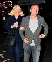 The this morning presenter wore her £760 designer love jacket as she cosied. Holly Willoughby Beams On Rare Date Night With Husband Dan Baldwin Mirror Online