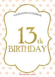 free 13th birthday invitations free 13th birthday invitations templates free printable birthday