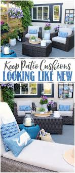 summer patio with resin wicker furniture and beige cushions