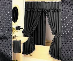 black shower curtains. Diamond Pattern Fabric Double Swag Shower Curtain Set Tiebacks Hooks Black Curtains