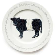 jersey pottery farmyard belted galloway presentation plate oval plates cow print down on the