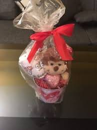 dels about valentines day i love you hand painted wine gl with teddy bear gift basket