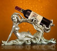 Decorative Wine Bottle Holders Vintage Mermaid Sculpture Wine Bottle Holder Decorative Resin Sea 23