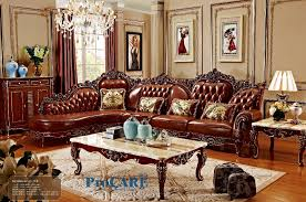 red solid wood genuine leather corner sofa set l shape sofa set living room furniture with marble surfaces coffee table 6811 american living room furniture