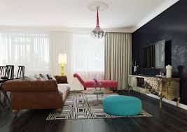 Apartments Living Room Dark Wood Floor Design With Pop Art Style Interior  With The English Flag