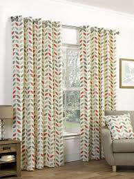 orange beige leaves 66x90 168x229cm cotton blend lined ring top curtains ds