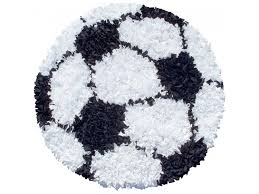 the market kids gy raggy soccer ball 3 round black white area rug