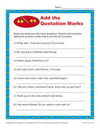 Printable Worksheets For Quotation Marks Download Them Or Print
