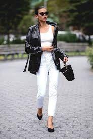 black leather jacket white pant outfit street style newyork fashion week spring 2019 min