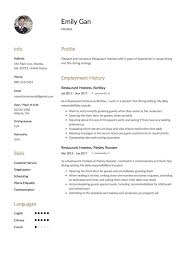 Hostess Resume Examples 100 Free Restaurant Hostess Resume Samples Different Designs 41