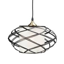 sultano 1 light matte black wire cage pendant lamp