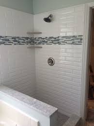 image of wall white subway tile shower