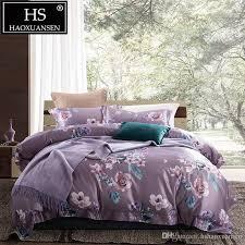 light purple 3d bedding sets camellia pattern digital print duvet cover set slik cotton bed linen set queen king size grey and white comforter flannel