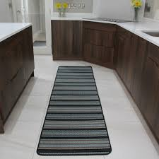Non Slip Flooring For Kitchens Small Large Modern Kitchen Rugs Blue Striped Flat Non Slip Hall