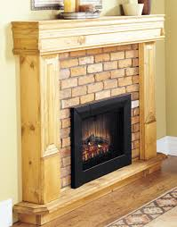 electric fireplace insert with black frame surrounded by brick and wooden mantel kit matched with white