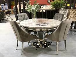 new allure grey marble chrome round 130cm dining table cassie chairs