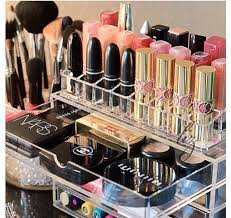 makeup organizer with the lipstick slots