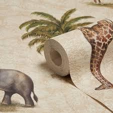 A.S. Creation Dekora Natural Elephant U0026 Giraffe Wallpaper | Departments |  DIY At Bu0026Q