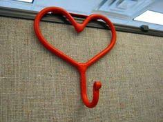 office coat hooks. Metal Heart Coat Hook For Cubicle Office Divider Partition Hand Forged - Red Hooks A