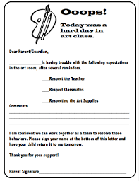 Behavior Letter To Parents From Teacher Template Ooops Note Behavior