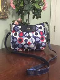 Image is loading Coach-Madison-Crossbody-Bag-Swingpack-Op-Art-Blue-