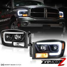 Halo Lights For 2006 Dodge Ram Details About 06 08 Dodge Ram 1500 Pickup Truck Black Led Drl Tube Projector Headlight Lamp