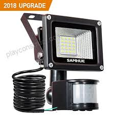 10w security light with motion sensor lights outdoor flood lights samhue high output 900lumen 60w halogen