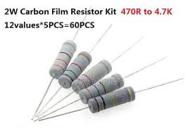 12values*5PCS=<b>60PCS</b> 470R 4.7K ohm <b>2W</b> 5% Carbom Fillm ...