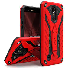 LG K20 V VS501 - Static Dual Layer Hybrid Case Cover Kickstand Red/Black :: CellPhoneCases.com Red