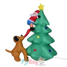 Blou Up Christmas Tree With Santa And Dog Led Christmas Inflatables Decorations