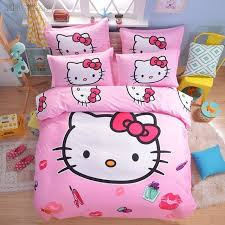 kids hello kitty bedding set with duvet cover bed sheet pillowcase cartoon children cotton bed linen
