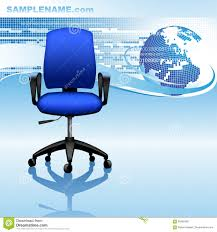globe office chairs. Blue Template Design With Abstract Background, Globe And Office Chairs N