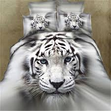 bedding set 3d 4pcs white tiger head personality fashion family childrens room duvet cover sets bed
