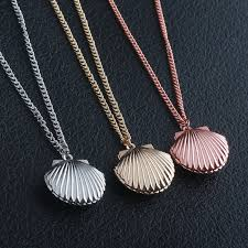 details about silver gold rose seashell locket little mermaid pendant necklace gift