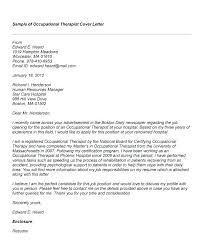 Sample Cover Letter Therapist Sample Cover Letter For Physical