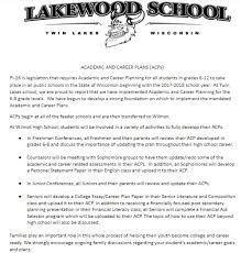 academic and career plans twin lakes no  acp