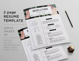 Pages Resume Template Simple Beautiful Floral Resume Template Cover Letter 48 Page CV Etsy