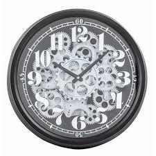 moving gears wall clock black