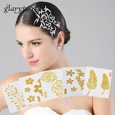 Us 129 1 Sheet Chic Flash Hair Tattoo Metallic Gold Flower Pattern Tattoo Sticker Hg Series Women Body Art Non Toxic Glitter Tattoo New In