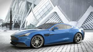2014 Blue Aston Martin Vanquish Side View Wallpaper