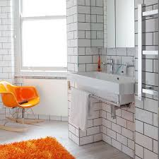 dark grout white tile large scale staggered white subway tile with dark gray grout