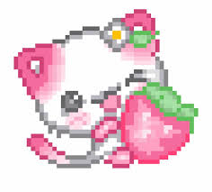 Cute Pixelated Cat with Strawberry