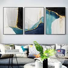 Wall art in any room ties the home together and makes the place more special and interesting. Set Of 3 Framed Wall Art Geometric Abstract Gold Navy Blue Etsy Framed Wall Art Abstract Canvas Painting Modern Art Prints