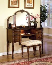 Exotic Antique Makeup Vanity Set Table Featuring Bottom Drawer With Ring  Pull Including Detailed Framed Mirror And Striped Fabric Covered Stool