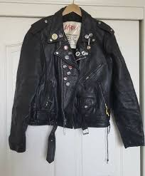 details about la ro leather jacket punk rock ramones black size 42 large metal metallica