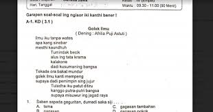 Oleh gurusd diposting pada 5 september 2020 Soal Ulangan Bahasa Jawa Kelas 4 Semester 1 K 13 Sekolahdasar Net