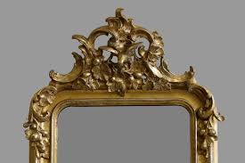 antique baroque wall mirror with stucco